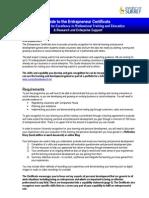 Entrepreneur Certificate Guide August
