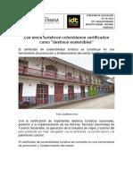 Los Sitios Turísticos Colombianos Certificados Como