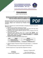 Pengumuman Registrasi D-4 Pusrengun 19 Agustus