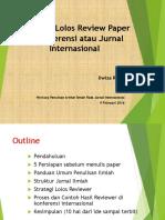 Strategi Lolos Reviewer Paper Di Jurnal Dan Conference Internasional