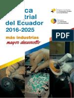 Politica Industrial Del Ecuador 2016 a 2025