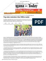 Top Nine Mistakes MBAs Make written for Telangana Today