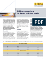 Welding Parameters for Dupelx Weld