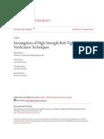 Investigation of High-Strength Bolt-Tightening Verification Techn