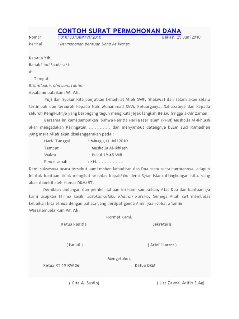 Contoh Surat Permohonan Dana