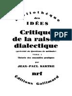 Jeanpaul Sartre Critique de La Raison Dialectique i Theorie Des Ensembles Pratiques 1960