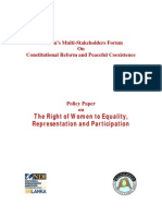 Policy Paper on the Right of Women to Equality, Representation and Participation
