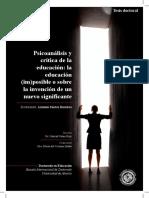 Psicoanálisis y Crítica de La Educacion