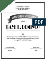 Certificate f Appreciation