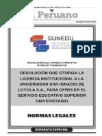 Resolución que otorga la Licencia Institucional a la Universidad San Ignacio de Loyola S.A. para ofrecer el servicio educativo superior universitario
