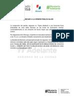 06-10-2017 COMUNICADO A LA OPINIÓN PÚBLICA No.029