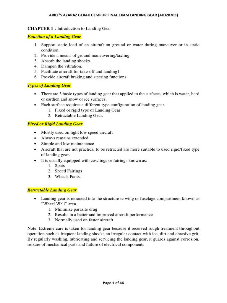 Gerak Gempur Landing Gear System | Landing Gear | Bearing