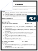 Sample CV for Captive Investment banking roles