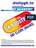 Special Gk Booster for Sbi Clerk Mains Exam