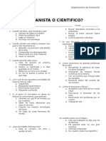 TEST HUMANISTA O CIENTIFICO