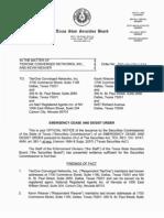 Texas Securities Bd - TierOne Networks Order - 05-19-2008