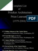 Complete List of Pritzker Architecture Prize