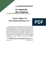 Hacer Memoria de La Da Religiosa (Victor Codina)