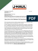U-Haul Open Letter to OKC Dept of Public Works