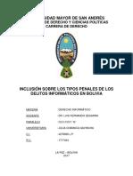 Inclusión Sobre Los Tipos Penales de Los Delitos Informáticos en Bolivia