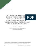 La traducción inglesa en las voces del reino animal y vegetal en la historia natural y moral en las indias