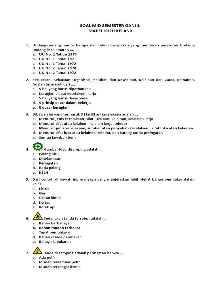 Soal Mid Semester Ganjil 17 18 K3lh Kelas X