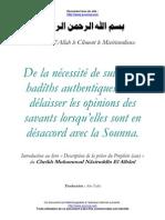 De la nécéssité de suivre les hadiths authentiques (cheikh Al Albani)