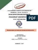 Sintesis Sobre Las Partes Del Esquema Del Informe Final.