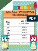 Jadual Mengutip Sampah Di Kawasan Sekolah Sesi Pagi Tahun 2013