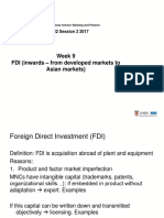 Week 9 Investments Inwards FDI