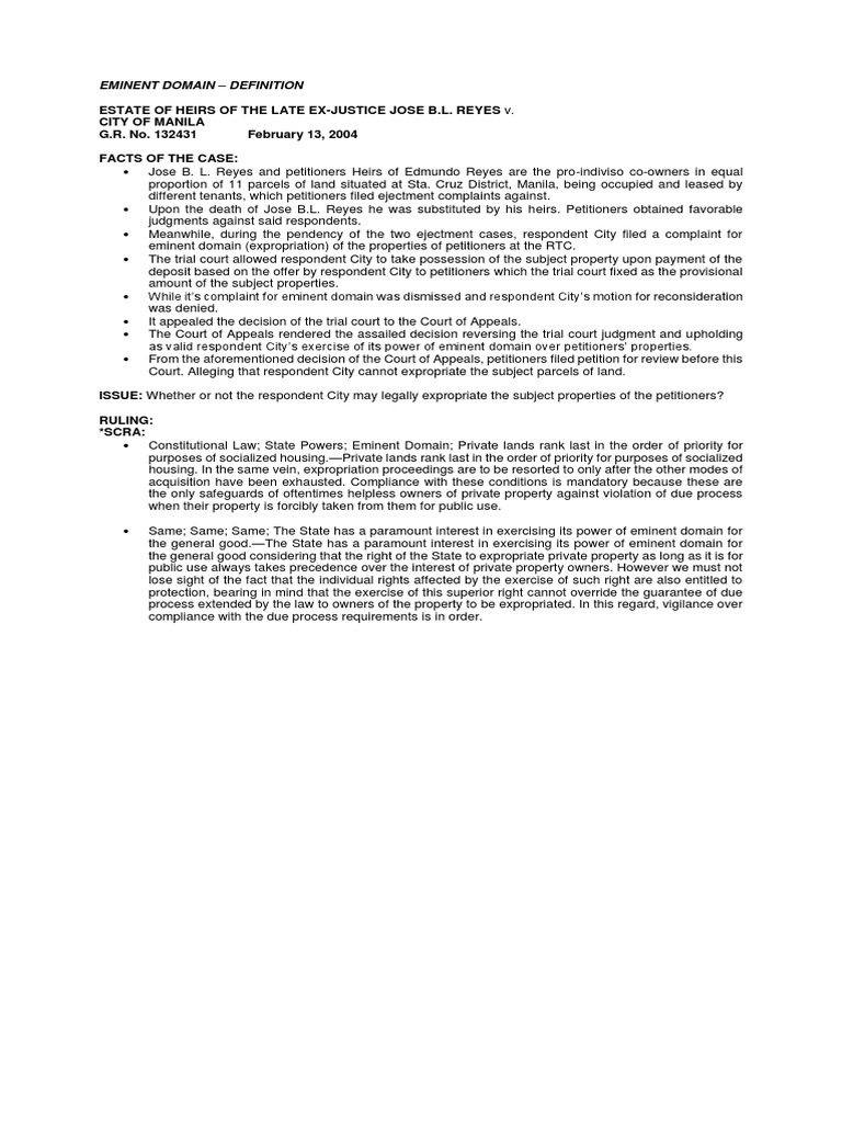 eminent domain | eminent domain | civil law (common law)
