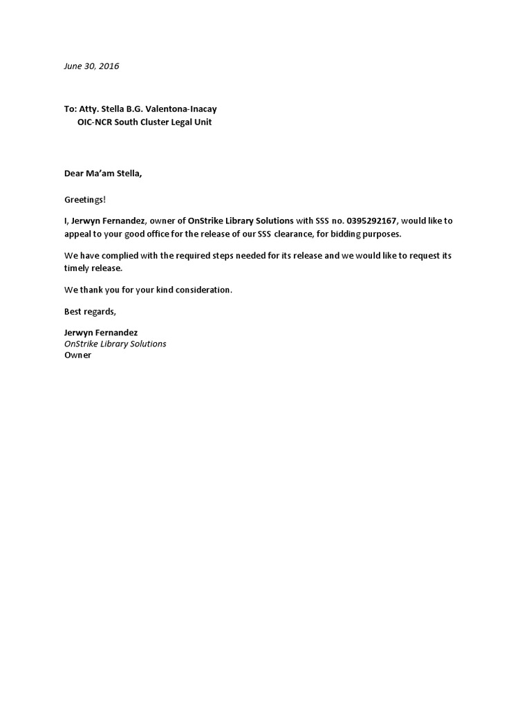 Sss Letter of Intent