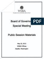 May 2012 Washington State Bar Association (WSBA) Board of Governors Materials Book