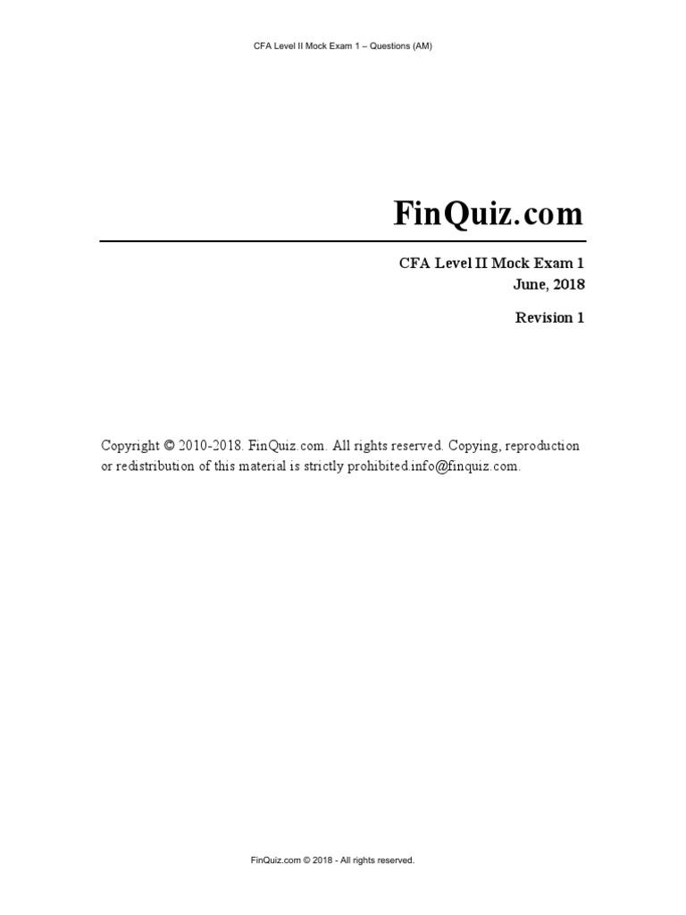 Finquiz Mock 2018 Questions | Pension | Correlation And