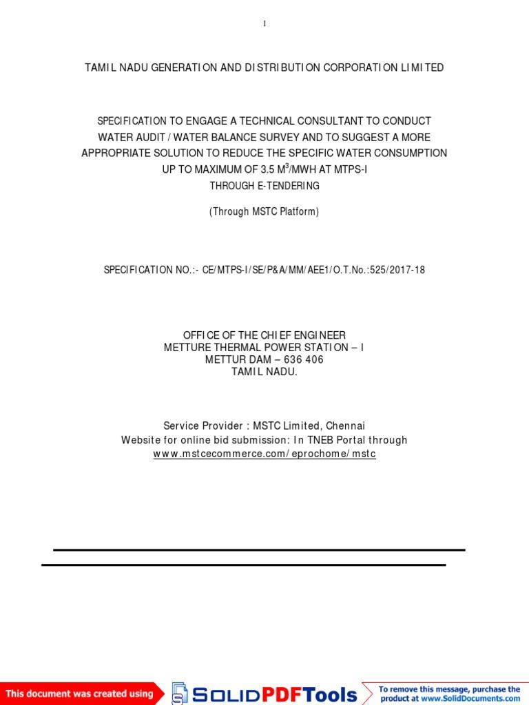 Mettur Dam - MTPS-I | Specification (Technical Standard) | Internet