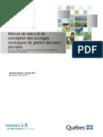 Manuel de calcul et de conception des ouvrages municipaux de gestion des eaux pluviales