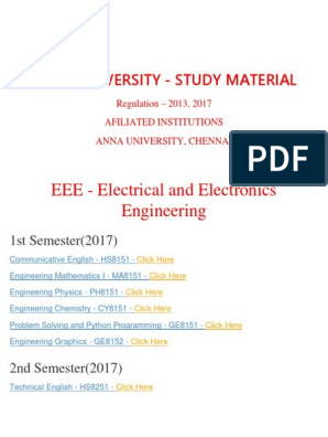 Eee Department - ANNA UNIVERSITY Important Question and