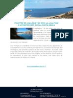 Profitez de Cala Montgó Avec La Location d'Appartements Sur La Costa Brava
