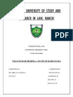 Case Analysis Constitution (Vijay Kumar Sharma v. St. of Karnataka)