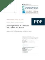 Growing Number of Americans Say Obama is a Muslim