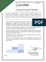 SIG-DOC-01 2017 Politica Integrado de Seguridad, Salud Ocupacional y Medio Ambiente.
