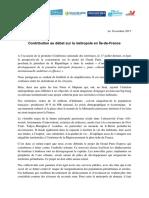 Contribution des sept départements franciliens au débat sur la métropole en Île-de-France