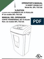 Staples SPL-TCX15A Cross Cut Shredder Manual