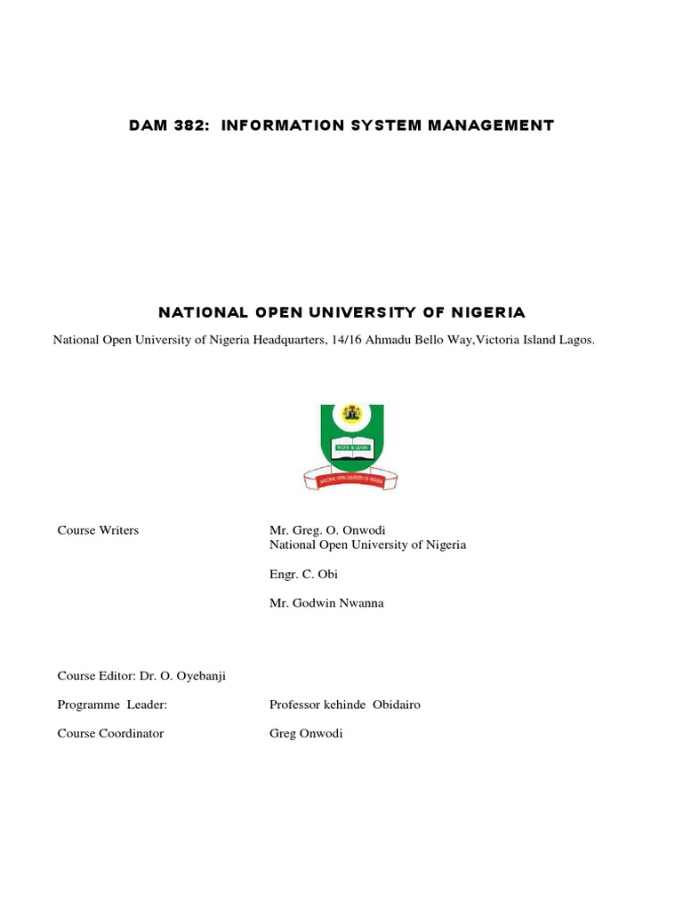 dam382 information systems management pdf enterprise resource