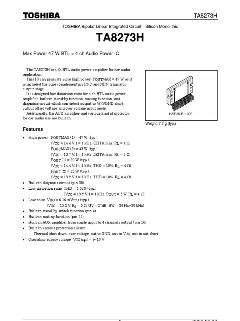 Ta8273h Amplifier Reliability Engineering Schematic Audio With Ic Tda2004
