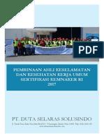 PROPOSAL Pembinaan Ahli K3 Umum Sertifikasi KEMNAKER RI 2017 PT. Duta Selaras Sousindo