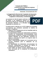 La Ontv denuncia la grave situación de la actividad de trasplantes en Venezuela