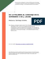 Mazzuca, Santiago Andres (2016). de La Palabra Al Lenguaje en El Seminario 3 de j. Lacan