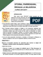 Plan Pastoral 2016-17 Basilica La Milagrosa Madrid