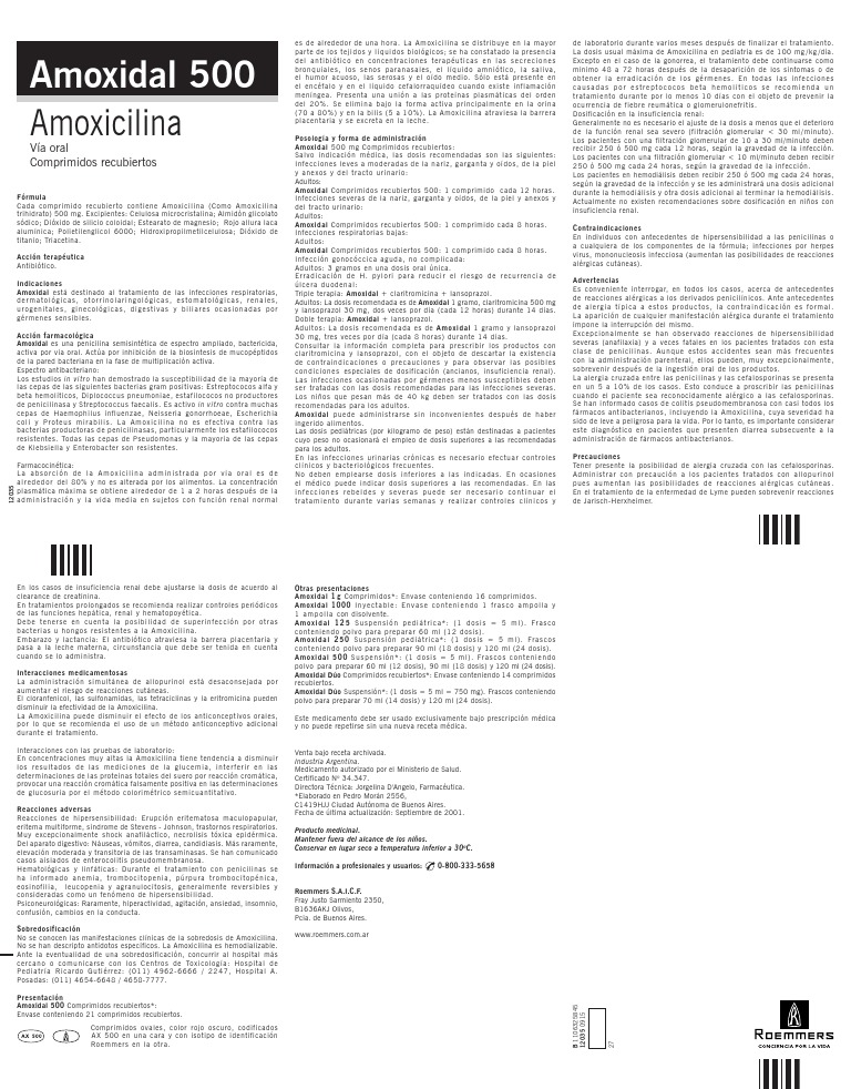 Amoxidal500comprimidos Pdf Penicilina Rtt
